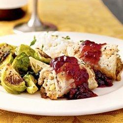 Stuffed Turkey Rolls with Cranberry Glaze recipe