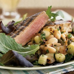 Grilled Tuna with White Bean and Charred Onion Salad recipe