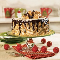 Brown Sugar Cake with Peanut Buttercream and Brittle Topping recipe
