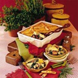 Ham-and-Greens Pot Pie with Cornbread Crust recipe