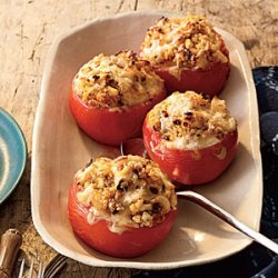 Baked Tomatoes with Quinoa, Corn, and Green Chiles recipe