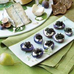 Sour Cream and Caviar Topped Purple Potatoes recipe