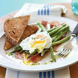Asparagus Salad with Soft Poached Eggs, Prosciutto, and Lemon-Chive Vinaigrette recipe