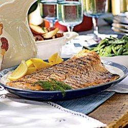 Grilled Salmon with Tangy Cucumber Sauce recipe