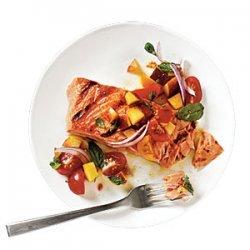 Grilled King Salmon with Tomato-Peach Salsa recipe