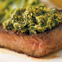 Grilled Sirloin Steak with Asparagus Tapenade recipe