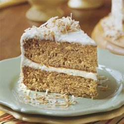 Decadent Banana Cake With Coconut-Cream Cheese Frosting recipe
