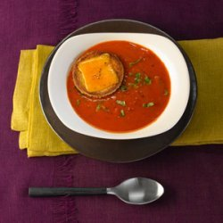 Creamy Tomato Basil Soup With Cheddar Croűte recipe