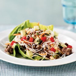 Asian Beef and Noodle-Filled Lettuce Cups recipe