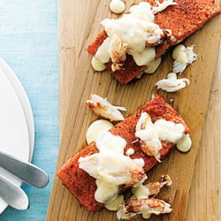 Cedar-Planked Salmon with Crab and Citrus Beurre Blanc recipe