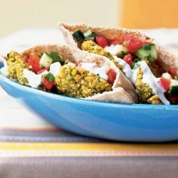 Falafel Pitas with Goat Cheese Sauce recipe