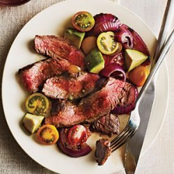 Grilled Flank Steak with Onions, Avocado, and Tomatoes recipe