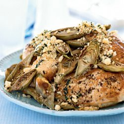 Oven-Roasted Chicken Breasts with Artichokes and Toasted Breadcrumbs recipe