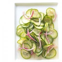Sweet and Sour Cucumber and Red Onion Pickles recipe