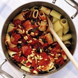 Rigatoni with Tomatoes, Raisins, and Pine Nuts recipe