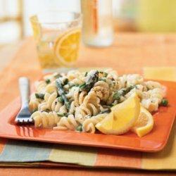 Pasta with Lemon Cream Sauce, Asparagus, and Peas recipe