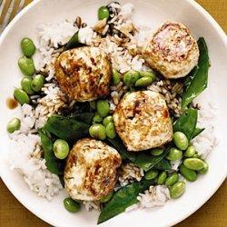 Chicken Teriyaki Meatballs with Edamame and Snow Peas recipe