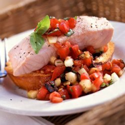 Chilled Poached Salmon with Panzanella recipe