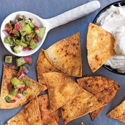 Adobo Chips with Warm Goat Cheese and Cilantro Salsa recipe
