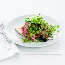 Chicken Paillard with Black Olive and Sprout Salad recipe