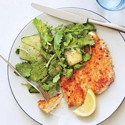 Parmesan Chicken with Arugula Salad and Tomato Vinaigrette recipe