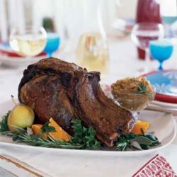 Coriander and Black Pepper-Crusted Rib Roast with Roasted Onions recipe