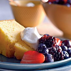 Lemon-Cornmeal Pound Cake with Berries and Cream recipe