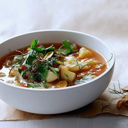 Cabbage and Fennel Soup with Toasted Garlic Chips recipe