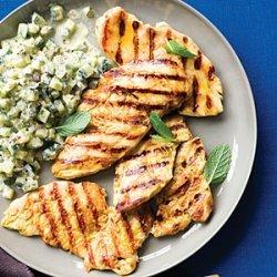 Grilled Yogurt Chicken with Cucumber Salad recipe