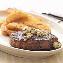 Seared Beef Tenderloin Steaks with Dark Beer Reduction and Blue Cheese recipe