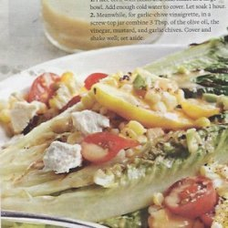 Grilled Romaine Salad with Tomato and Corn Tumble recipe