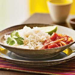 Coconut Rice with Spicy Tomato Sauce (Nasi Lemak with Sambal Tomat) recipe