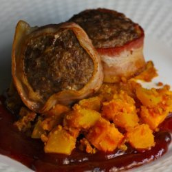 Venison Meatloaf with Blackberry BBQ Sauce and Buffalo Sweet Potato/Pumpkin Hash recipe