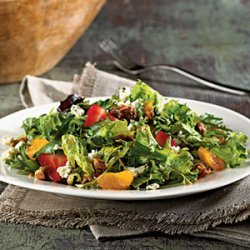 Mixed Greens with Praline Pecans and Blue Cheese recipe