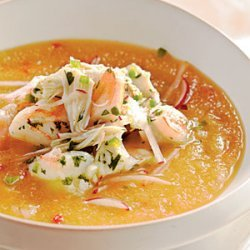 Golden Peach Soup with Shrimp and Crab Seviche recipe