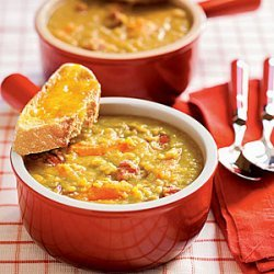 Split Pea Soup with Cheddar Toasts recipe
