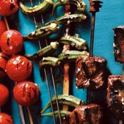 Steak, Tomato, and Okra Kebabs recipe