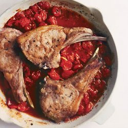 Veal Chops with Saffron Orzo and Tomato Sauce recipe