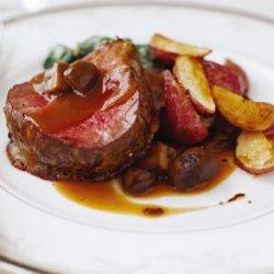 Beef Tenderloin with Mushrooms and Espagnole Sauce recipe