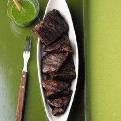 Skirt Steak with Cilantro Garlic Sauce recipe
