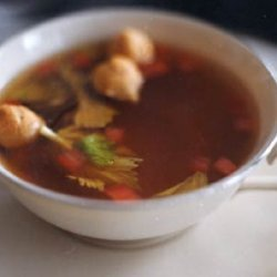Tomato and Celery-Infused Beef Consommé with Tiny Choux Puffs recipe