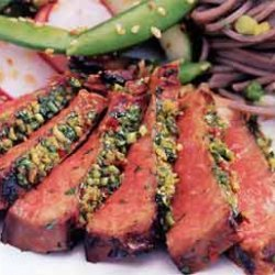 Grilled, Korean-Style Steaks with Spicy Cilantro Sauce recipe