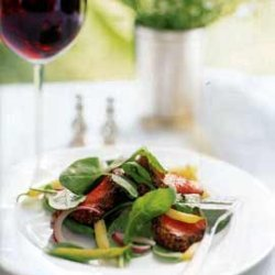Mustard-Crusted Beef Tenderloin with Arugula, Red Onion, and Wax Bean Salad recipe