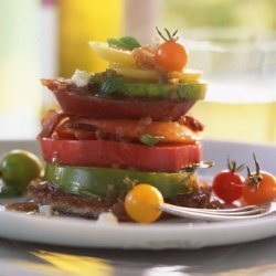 Heirloom Tomatoes with Bacon, Blue Cheese, and Basil recipe