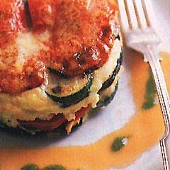 Eggplant, Zucchini, Red Pepper, and Parmesan Torte recipe