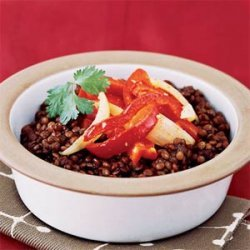Spicy Lentil Stew with Peppers and Onions recipe