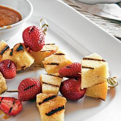 Grilled Berries and Pound Cake with Bourbon-Butterscotch Sauce recipe