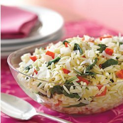 Orzo with Spinach and Red Peppers recipe