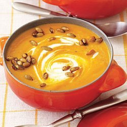 Curried Pumpkin Soup with Spicy Pumpkin Seeds recipe