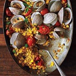 Paella with Poblanos, Corn, and Clams recipe